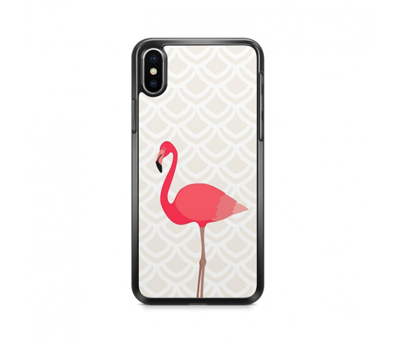 Coque iPhone X avec un flamant rose